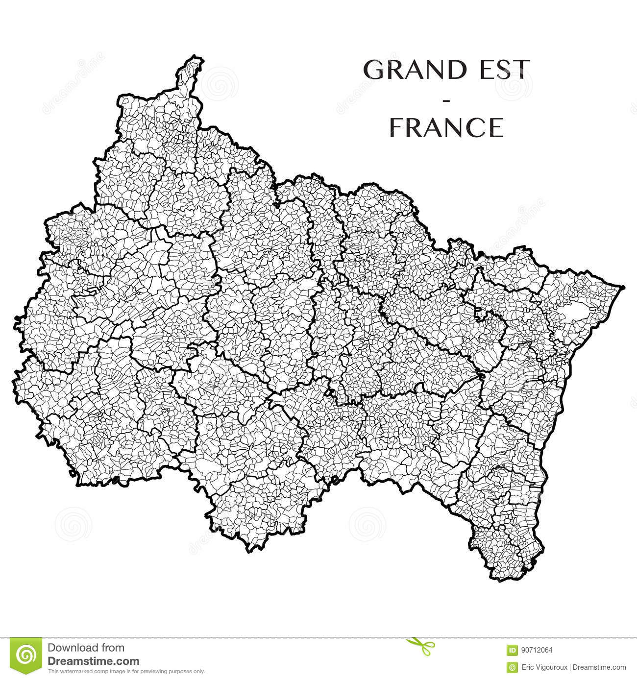 Vector Map Of The Region Grand Est, France Stock Vector ...