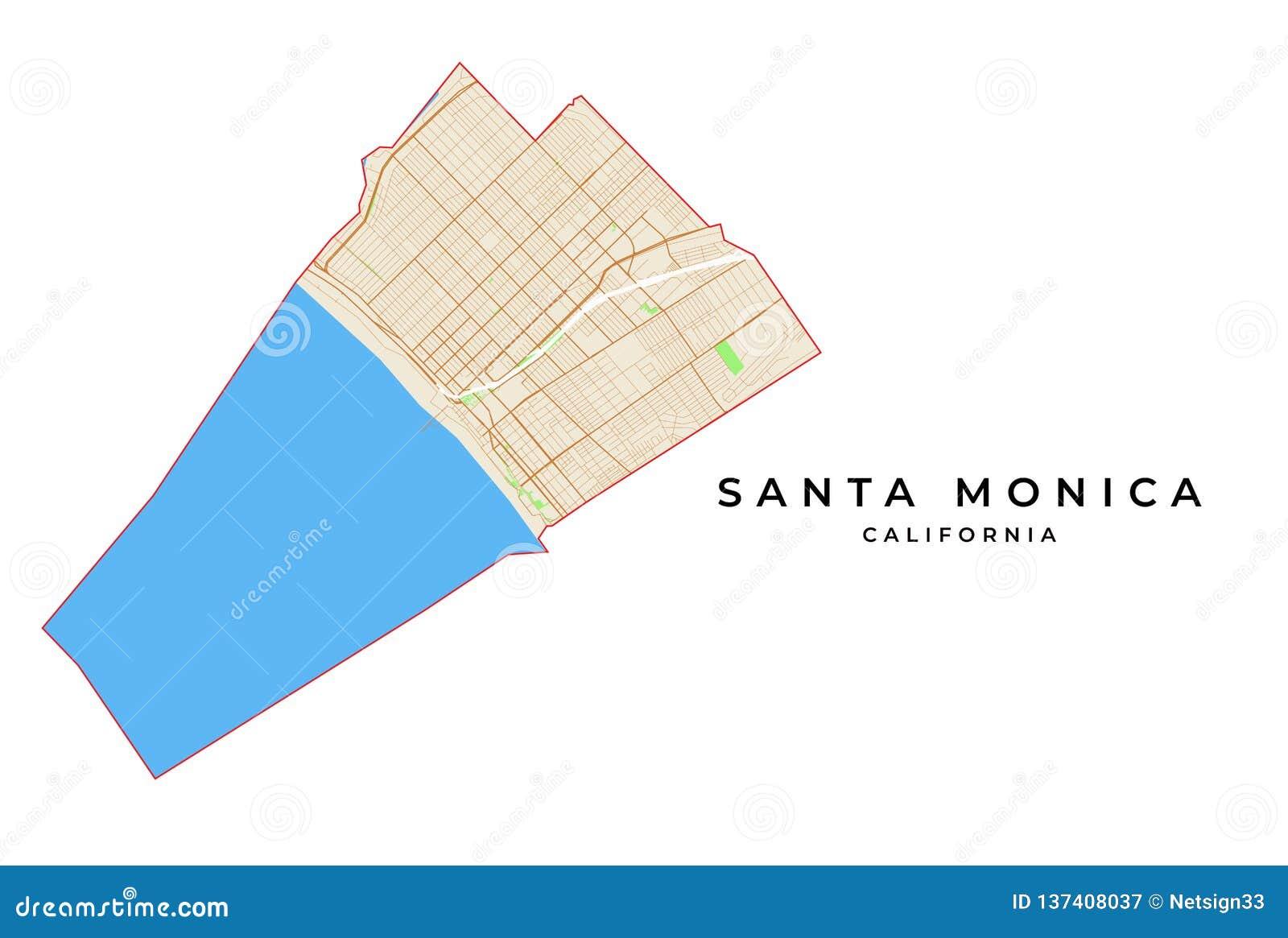 Vector Map Of Santa Monica, California, USA Stock Vector ...