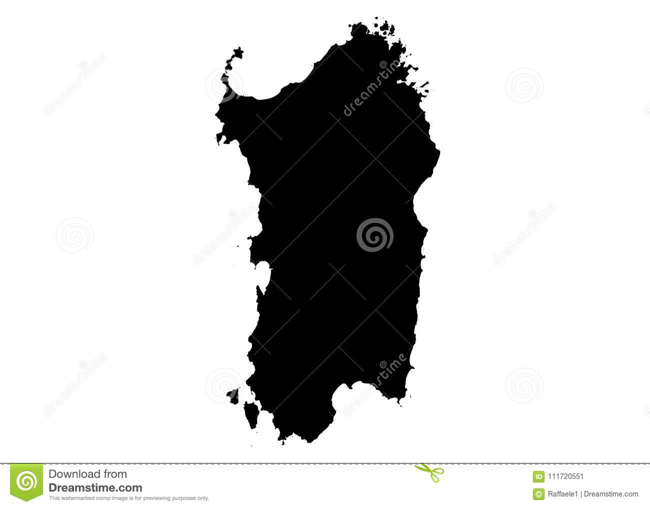 Sardinia State Map Vector Silhouette Stock Vector Illustration Of