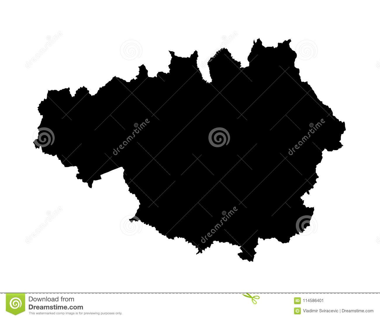 Vector Map Silhouette Of Greater Manchester. Stock Illustration ...
