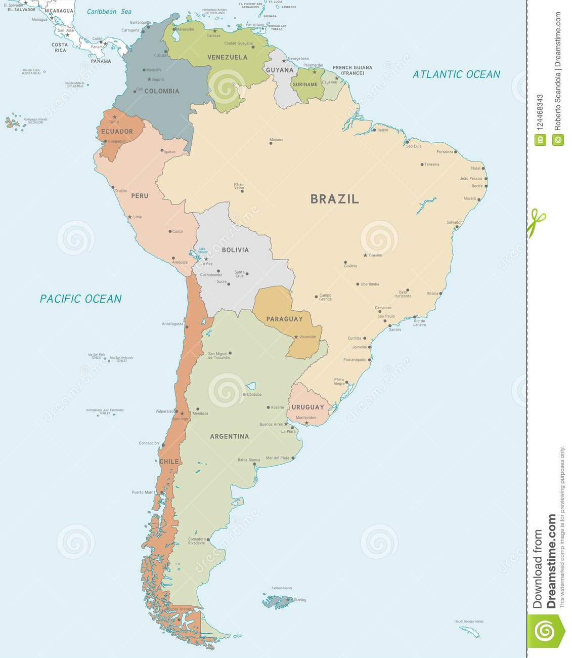 Vector Map Of South America Stock Vector - Illustration of political ...