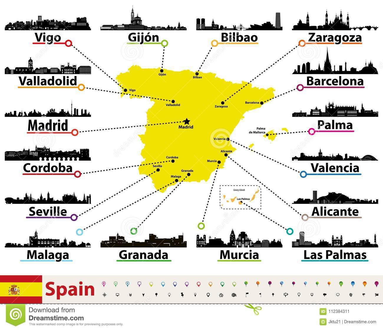 Vector Map Of Spain With Largest Cities Skylines Silhouettes Stock ...