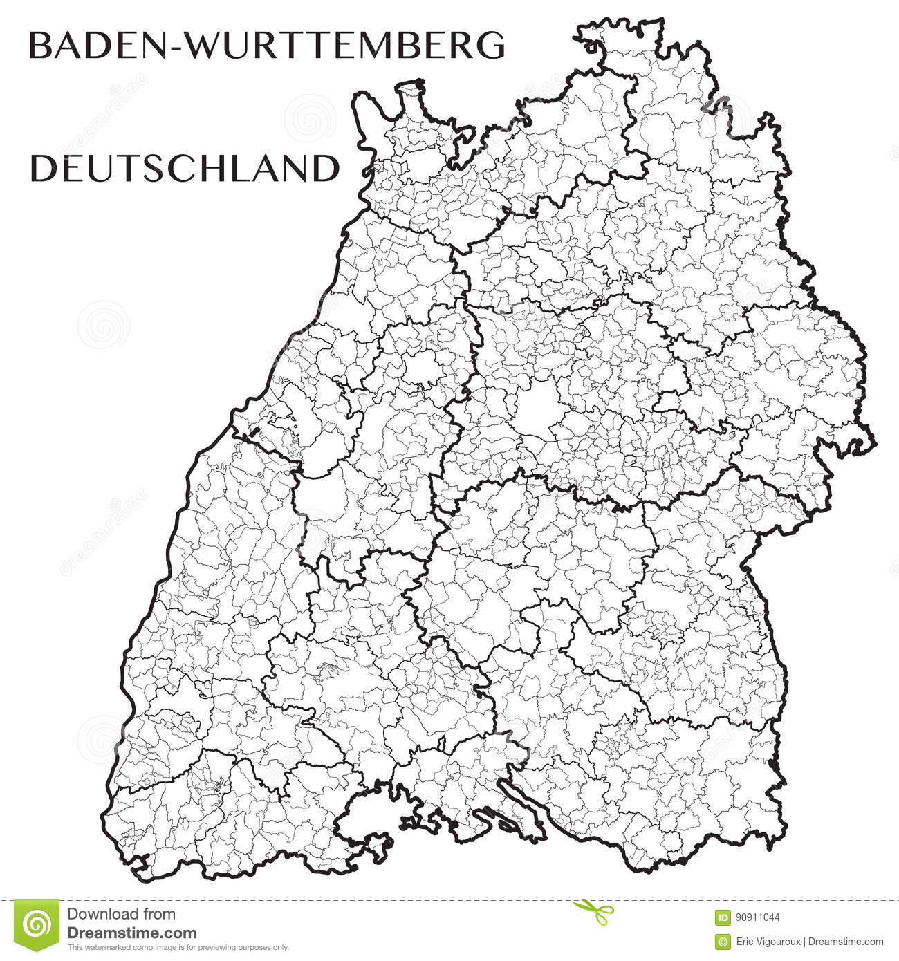Vector Map Of The State Of Baden Wurttemberg Germany Stock Vector