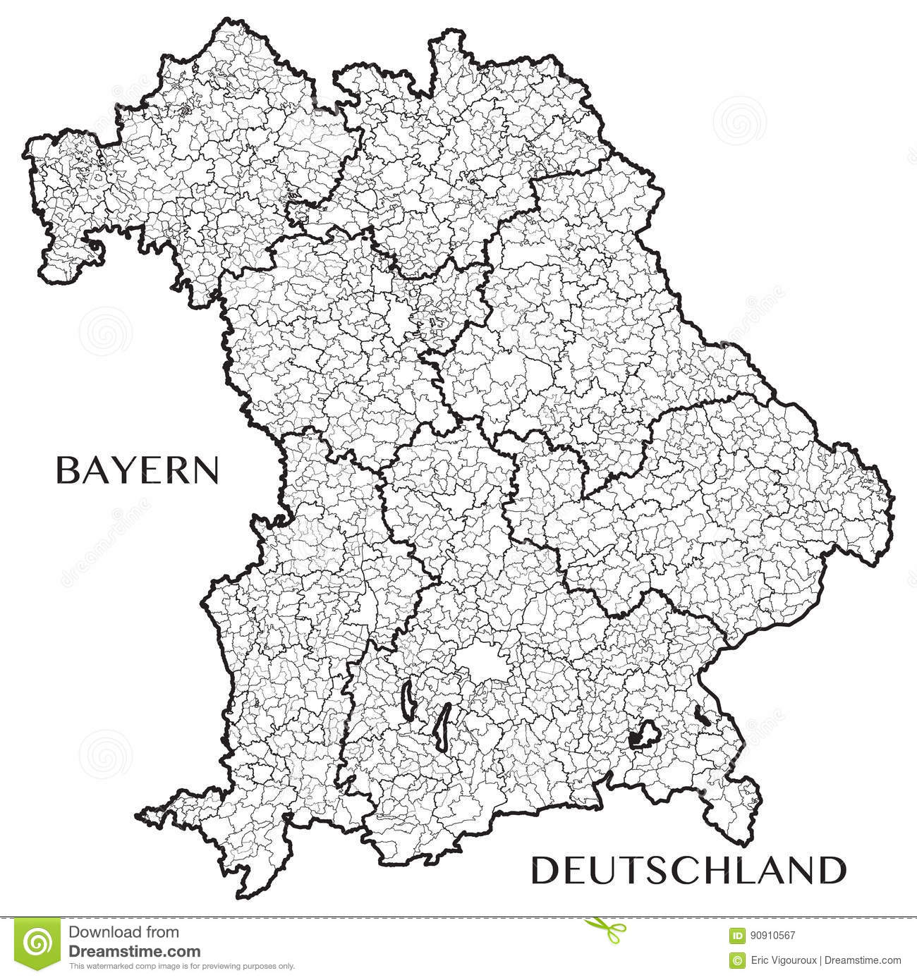 Map Of Germany Bavaria.Vector Map Of The State Of Bavaria Bayern Germany Stock Vector