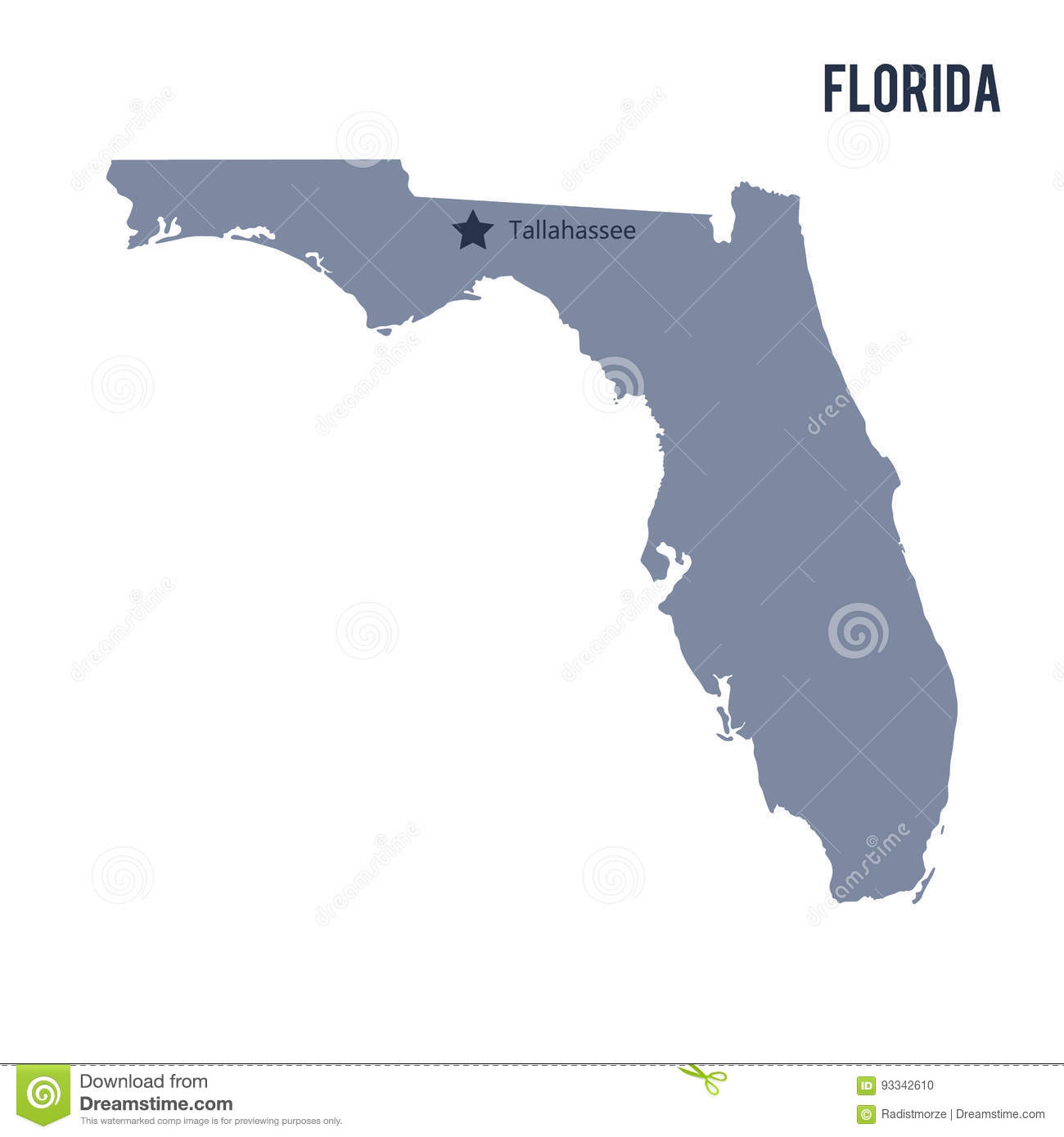 Map Of The State Of Florida.Vector Map State Of Florida Isolated On White Background Stock