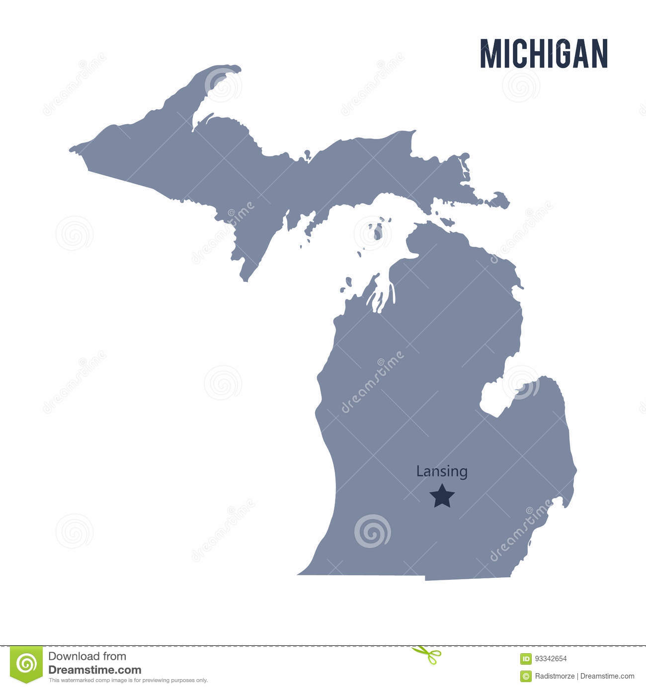 The State Of Michigan Map.Vector Map State Of Michigan Isolated On White Background Stock