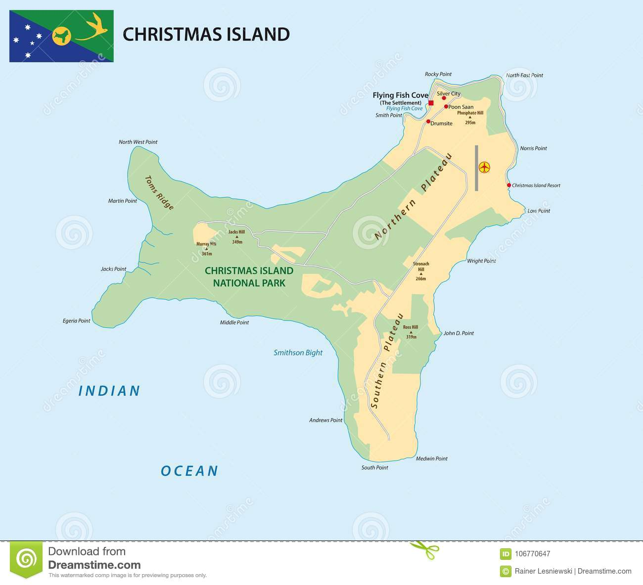 Vector Map Of The Territory Of Christmas Island With Flag Stock