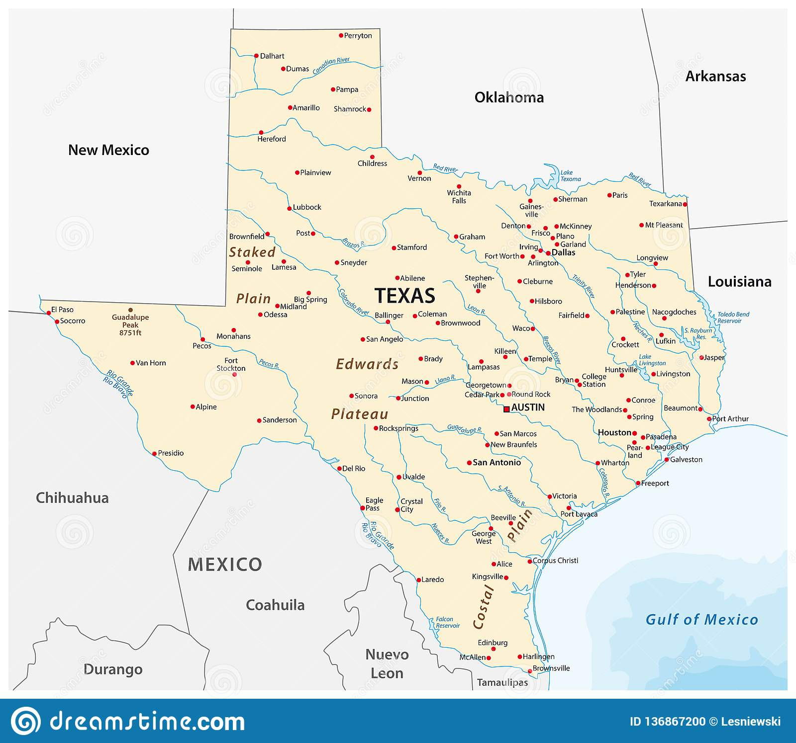 Map State Of Texas.Vector Map Of The U S State Of Texas Stock Vector Illustration Of