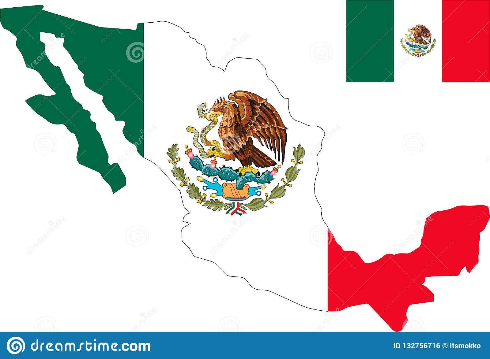 Vector Map Of United Mexican States With Flag. Isolated, White ...