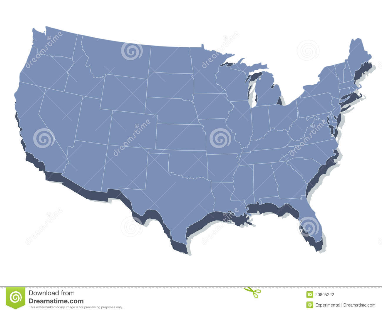 Vector Map Of The United States Of America Stock Photography - The united states of america map