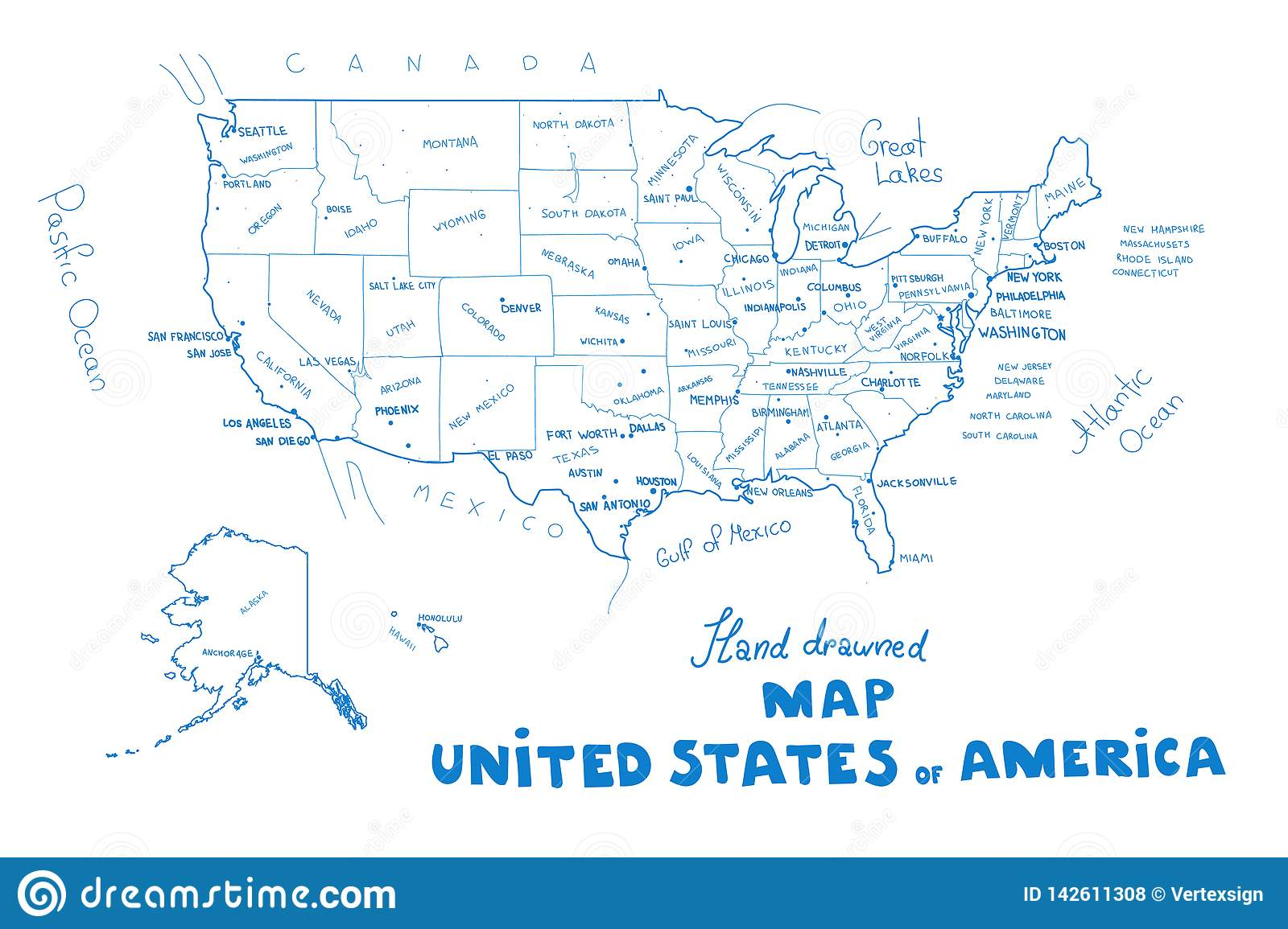 USA Map Vector. Hand Drawned Vector Illustration Of United ...