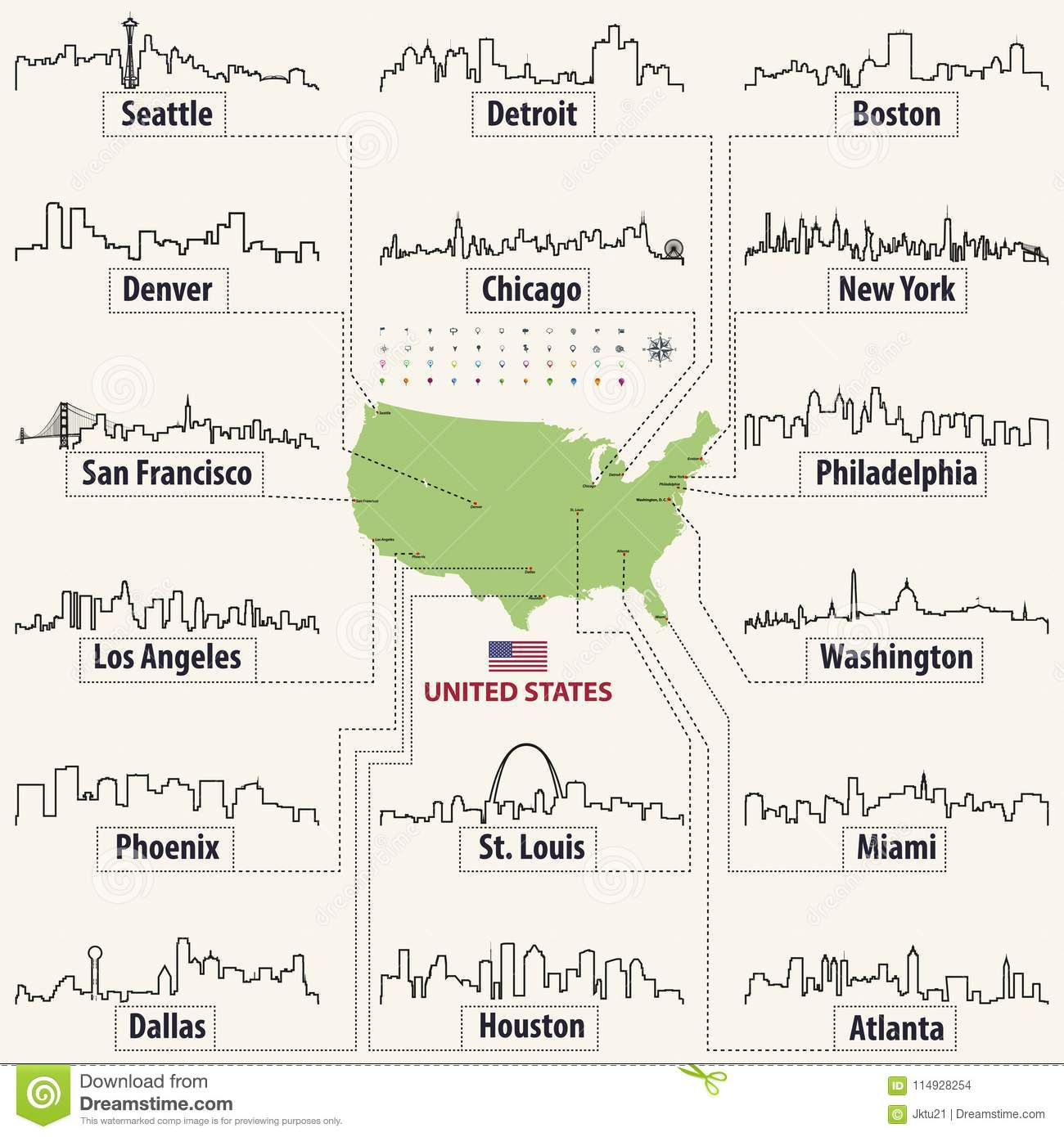 Vector Map Of United States Of America With Largest Cities` Skylines ...