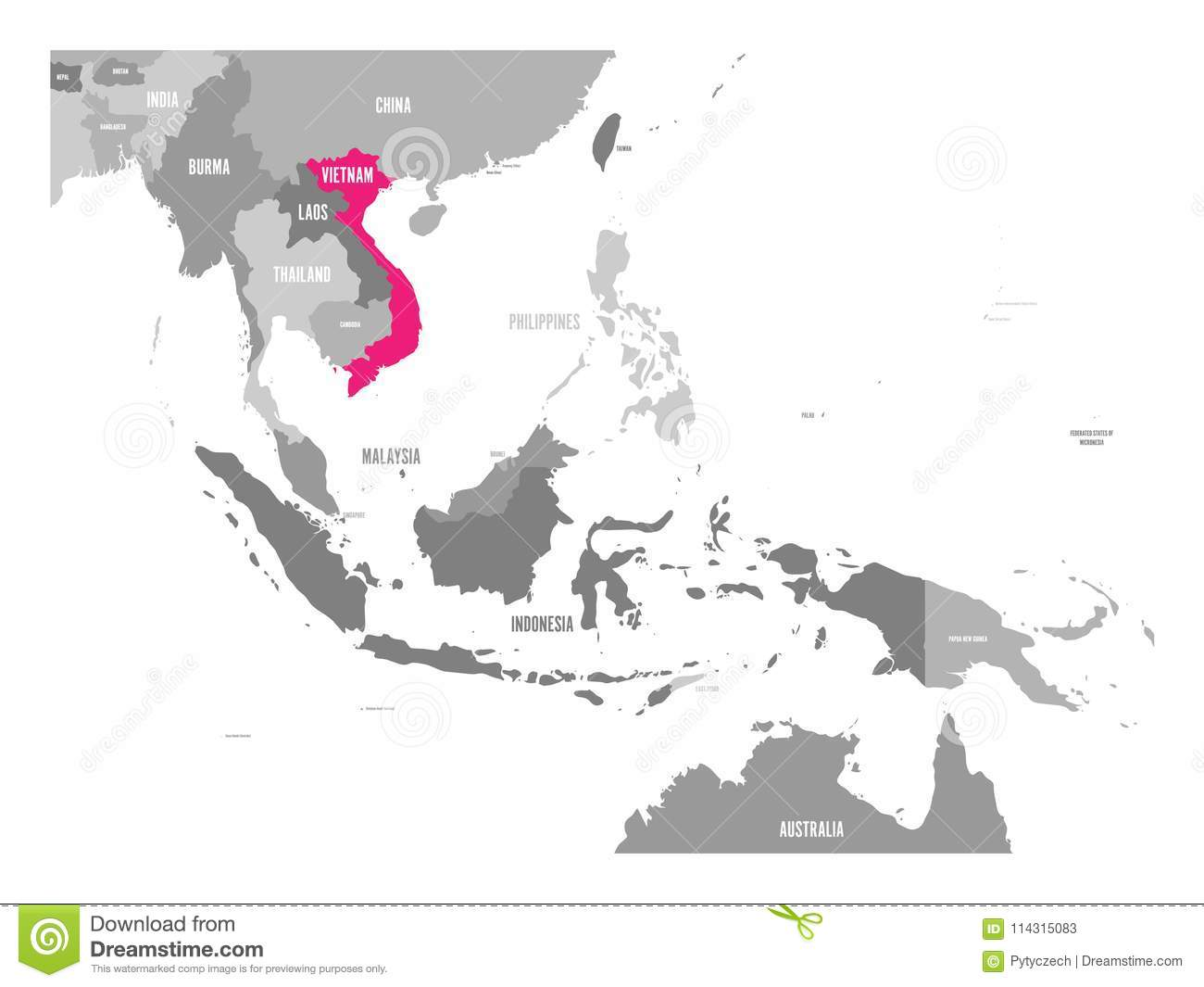Vector Map Vietnam Pink Highlighted In Southeast Asia Region