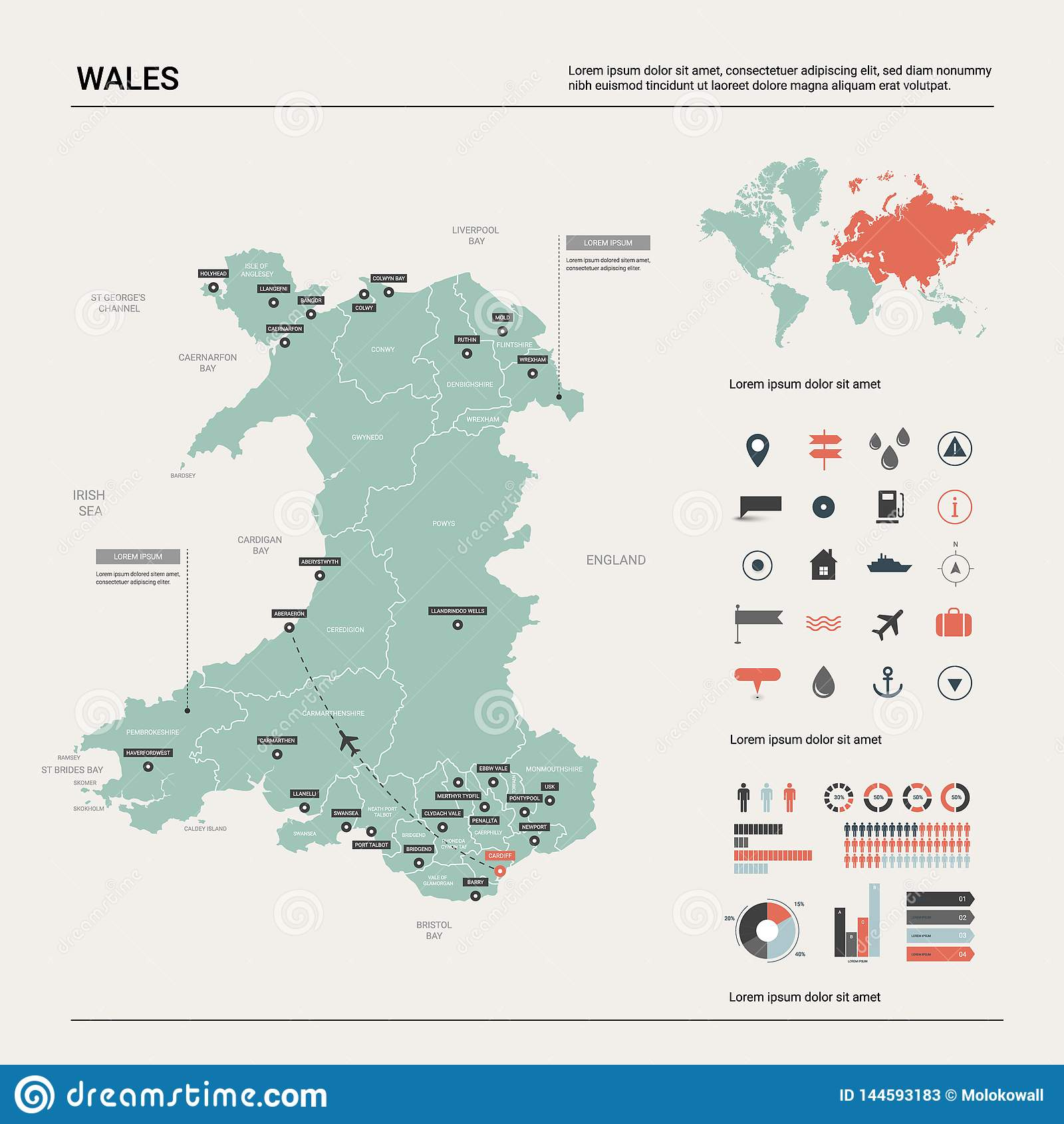 Vector Map Of Wales. High Detailed Country Map With Division, Cities on