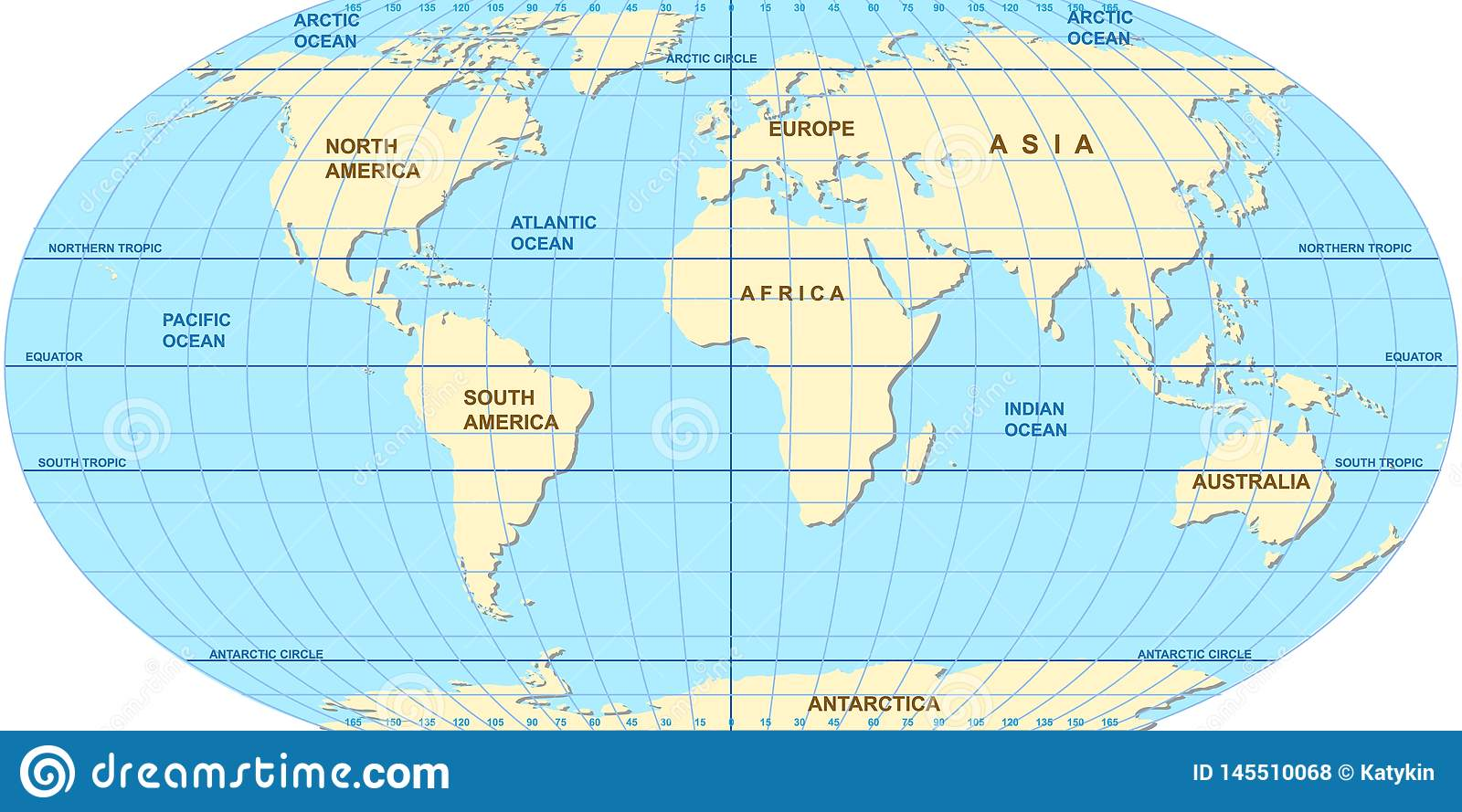 Vector Map Of The World Oceans And Continents On A Flat Projection Stock Vector Illustration Of Atlas Paper 145510068