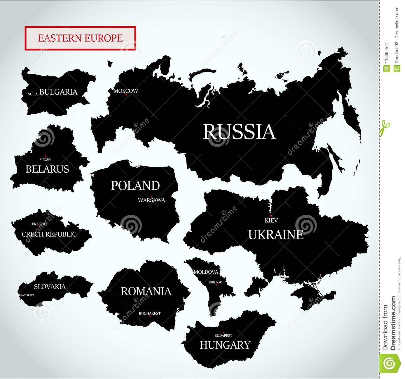 Vector Maps Of Eastern Europe With Capitals Stock Vector ...