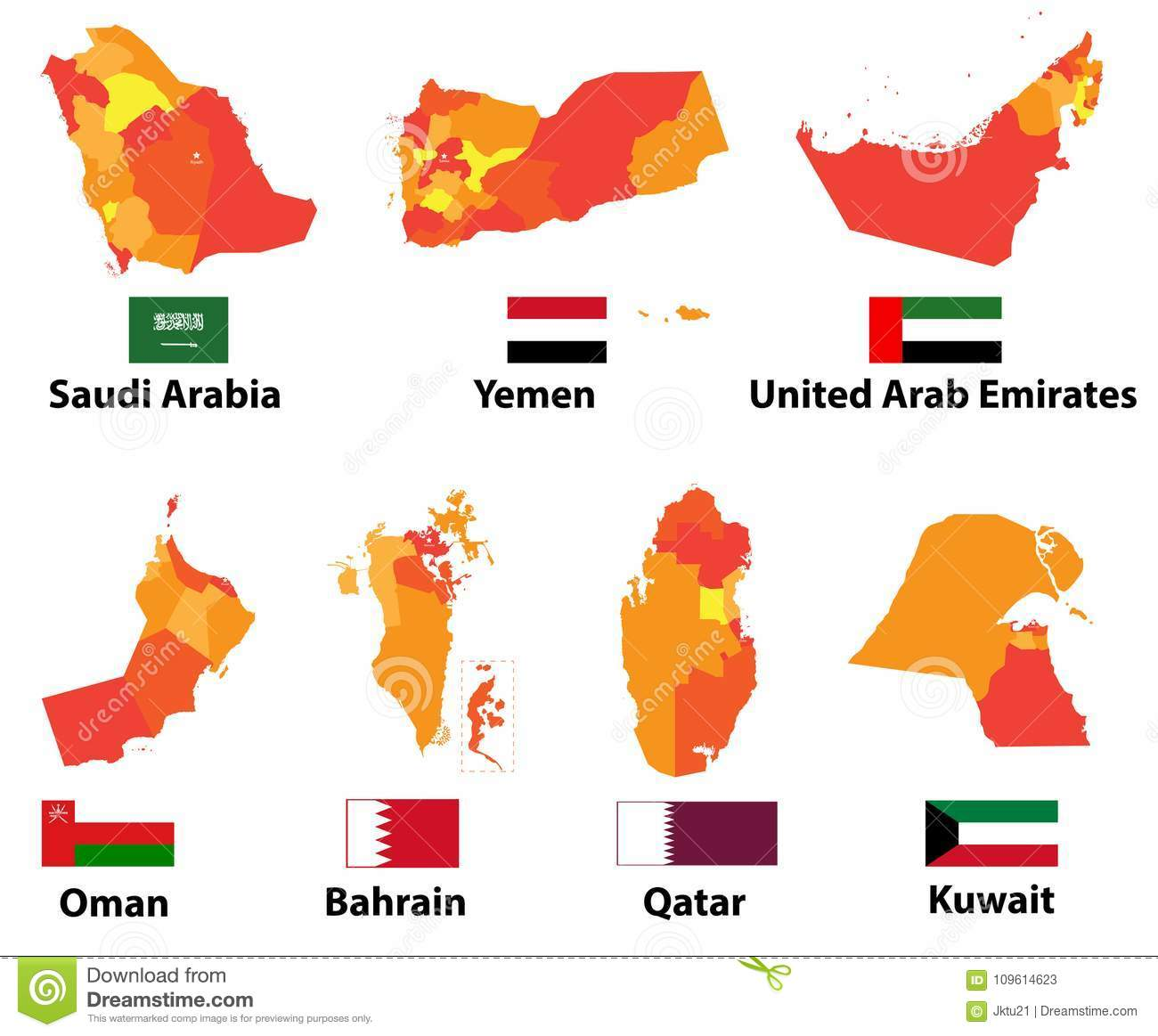 Vector Maps And Flags Arabic Countries Of With Administrative ...