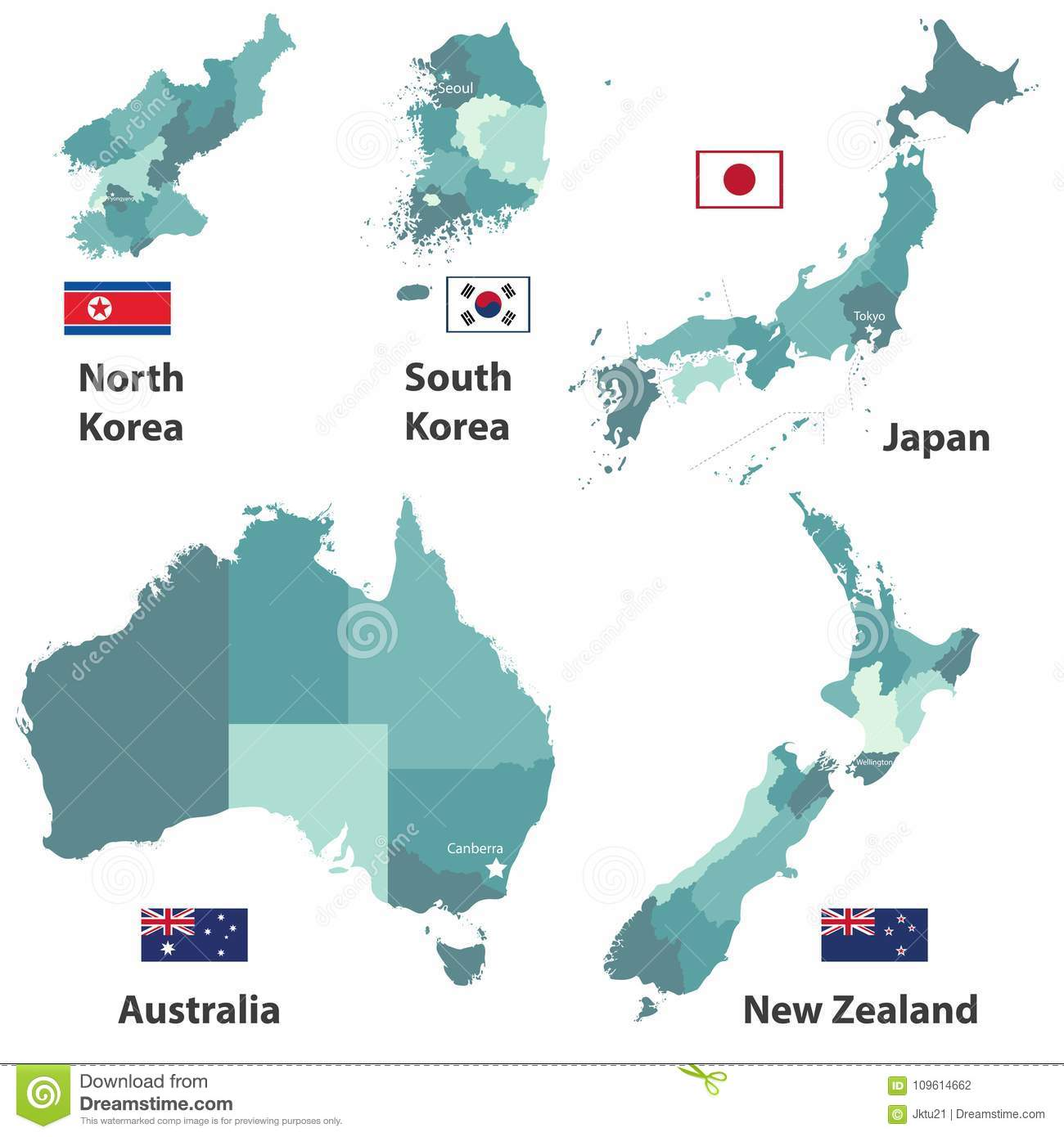 Map Showing Australia And New Zealand.Vector Maps And Flags Of Japan North Korea South Korea Australia