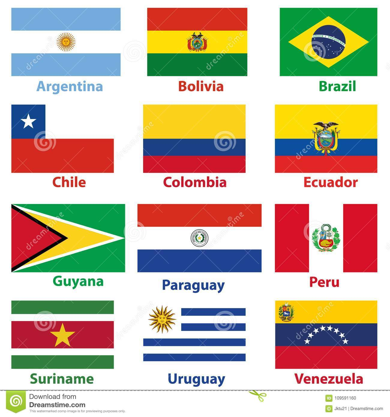 Vector Maps And Flags Of South American Countries Stock Vector ...
