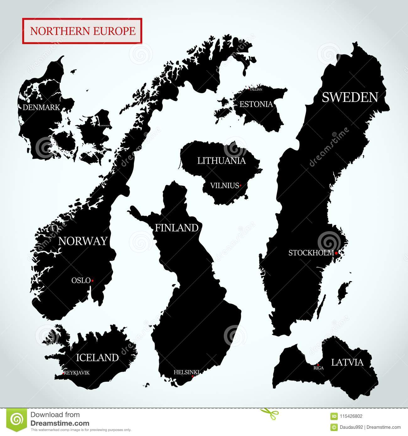 Vector Maps Of Northern Europe Stock Vector - Illustration ...