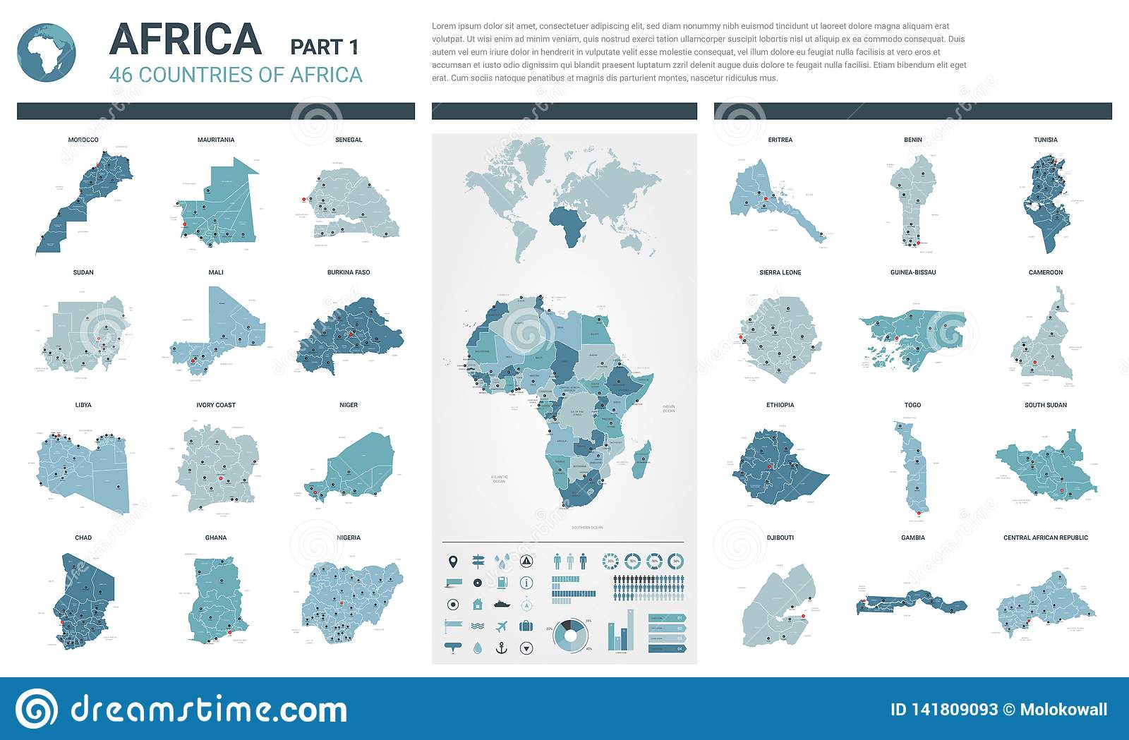 Vector Maps Set. High Detailed 46 Maps Of African Countries ...