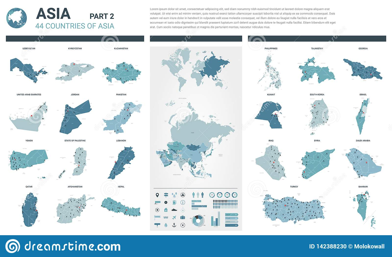 Political Map Of Asia Continent.Vector Maps Set High Detailed 44 Maps Of Asian Countries With