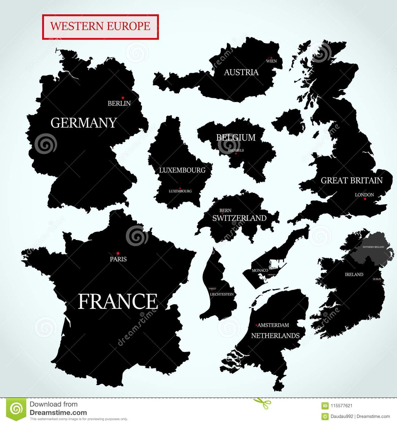 Vector Maps Of Western Europe With Capitals Stock Vector ...