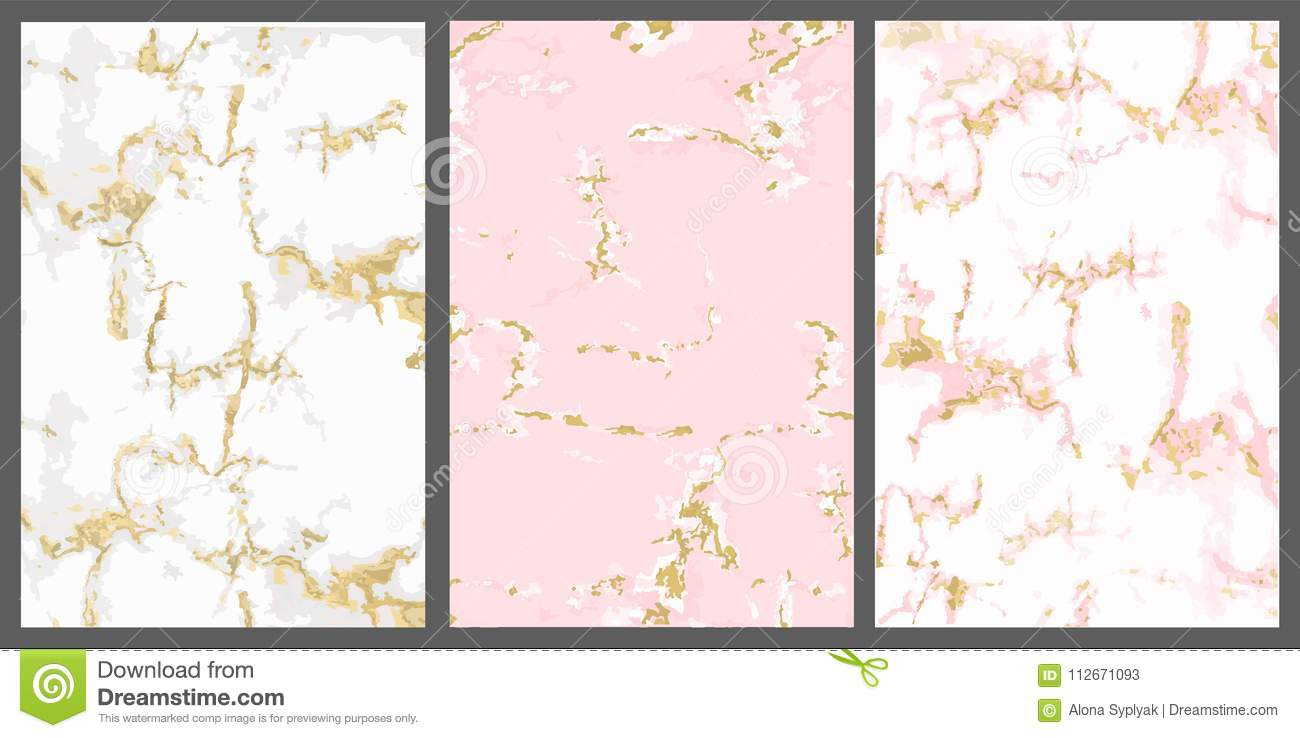 Vector Marble With Pink Gold Background White Rose With Golden