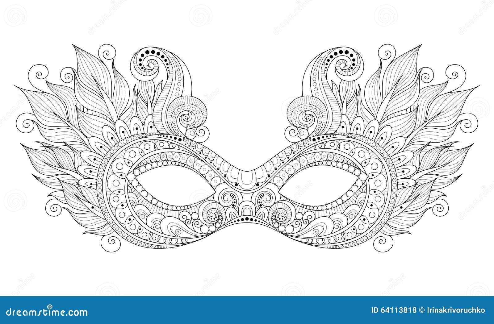 Vector Mardi Gras Carnival Mask Monocromático Adornado Con Las ...