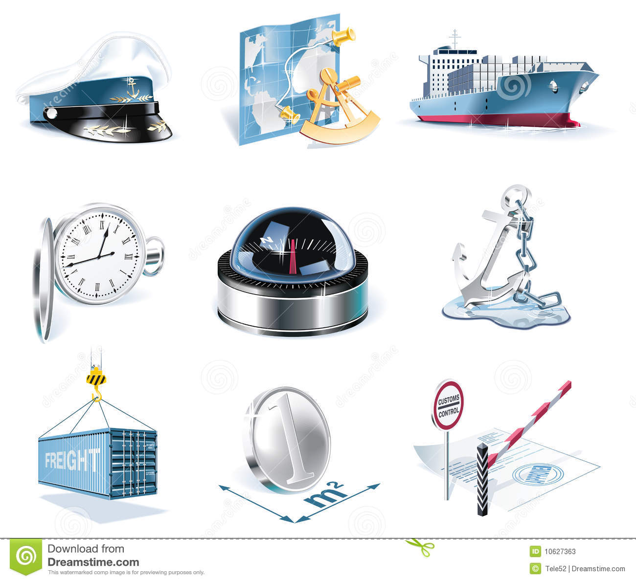 Download Vector Marine Transportation Icon Set Stock Vector - Illustration of icon, elements: 10627363