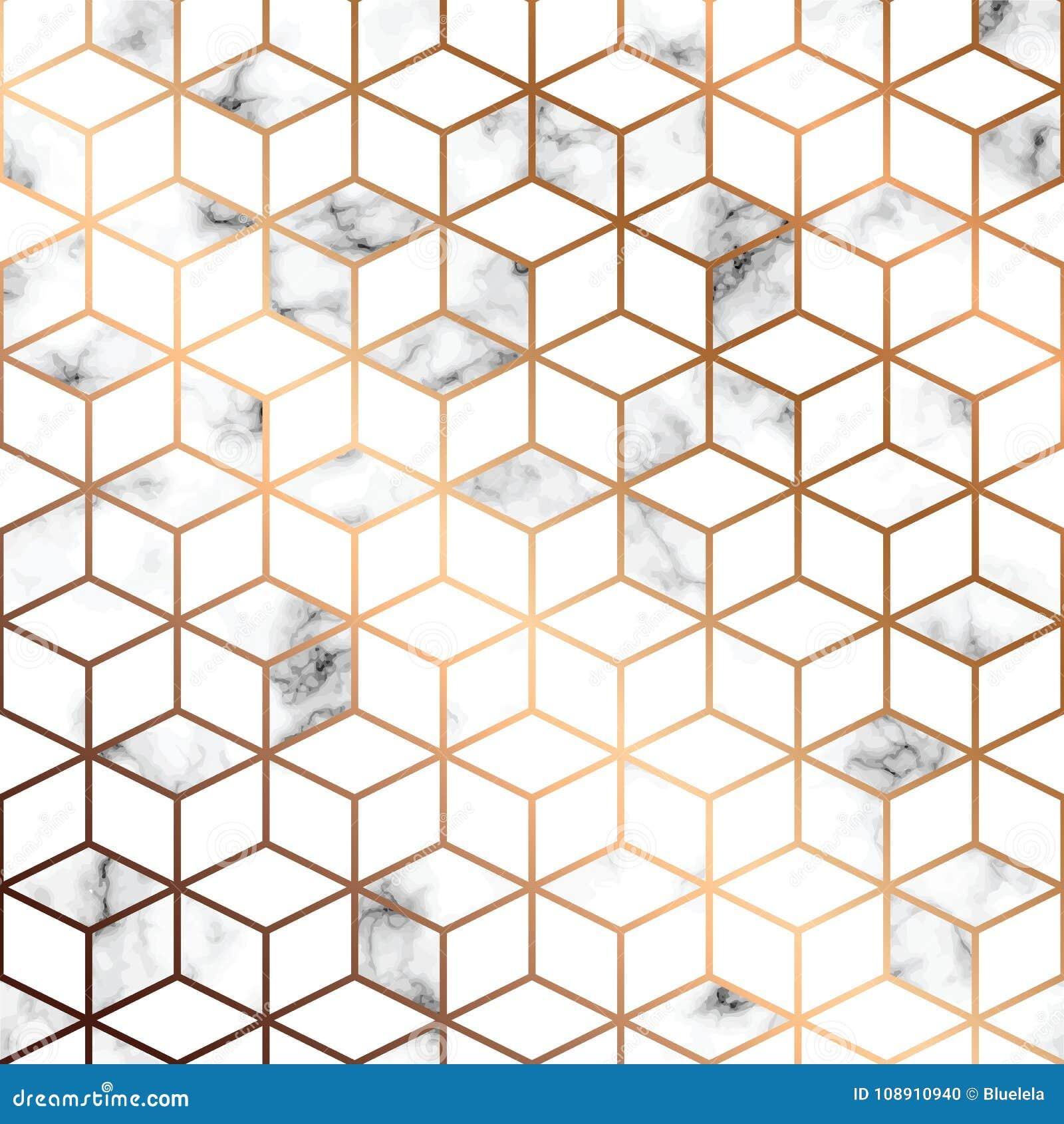 Vector Marmorbeschaffenheit, nahtloses Musterdesign mit goldenen geometrischen Linien und Würfel, marmornde Schwarzweiss-Oberfläc