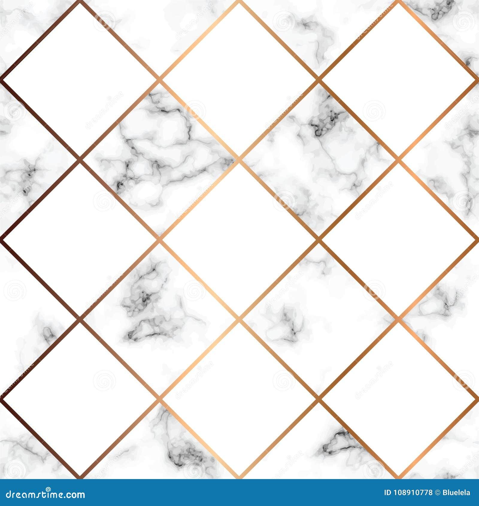 Vector Marmorbeschaffenheit, nahtloses Musterdesign mit weißen Quadraten