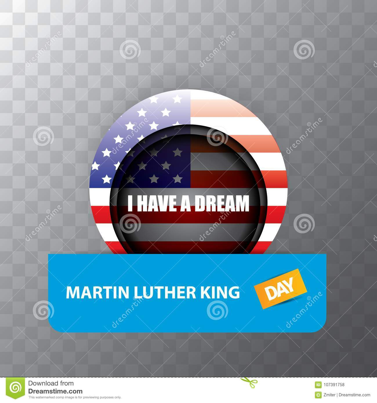 Vector Martin Luther King Jr Day Sticker Or Label On Transparent