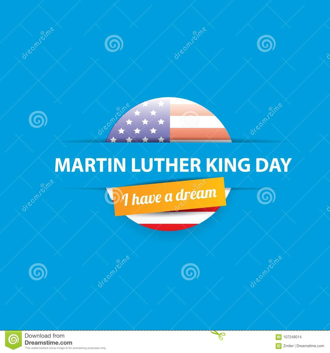 Vector Martin Luther King Jr Day Us Sticker Or Label On Blue