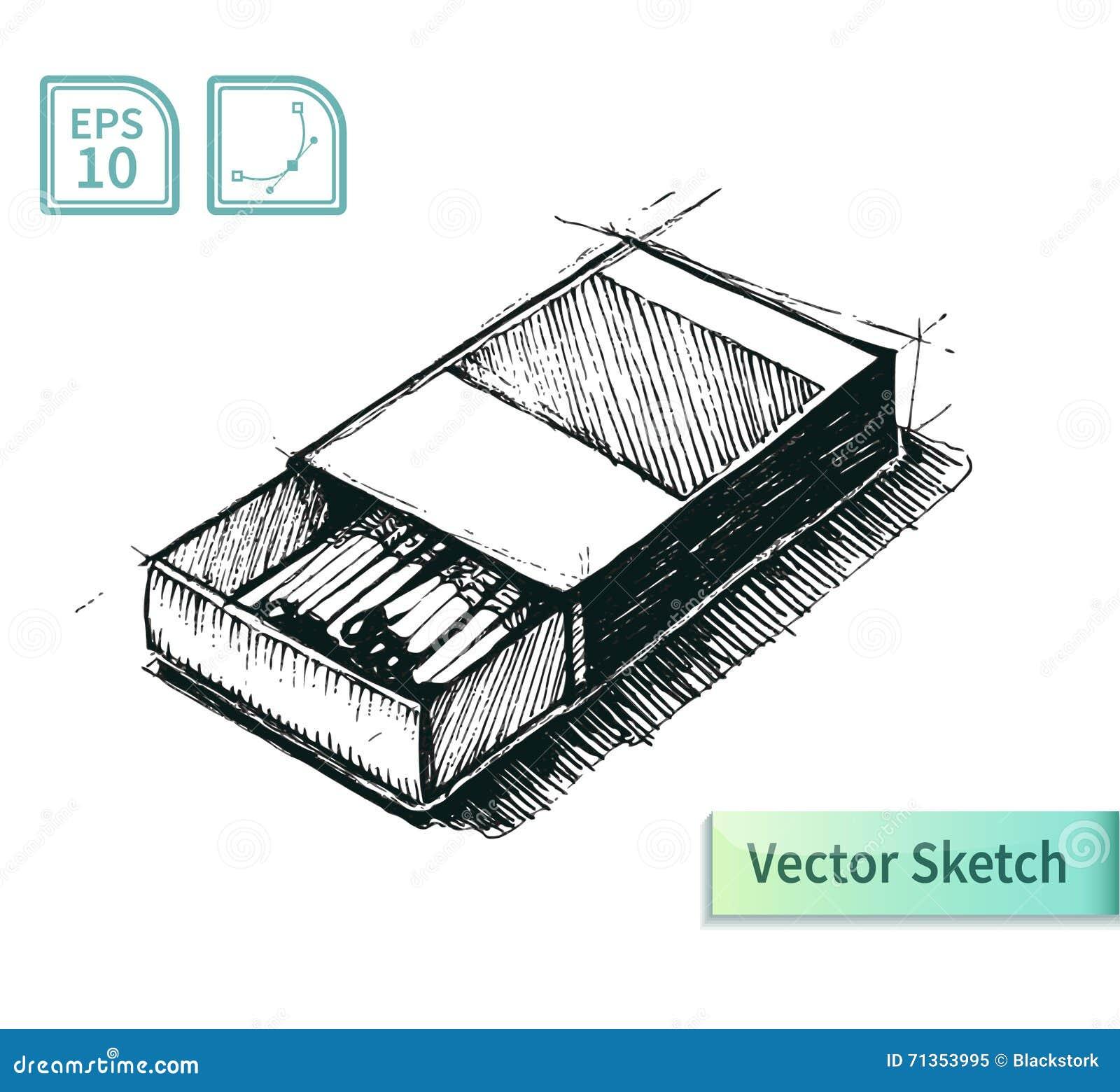 Matchbox - Vector Illustration. Stock Vector - Illustration of match ...