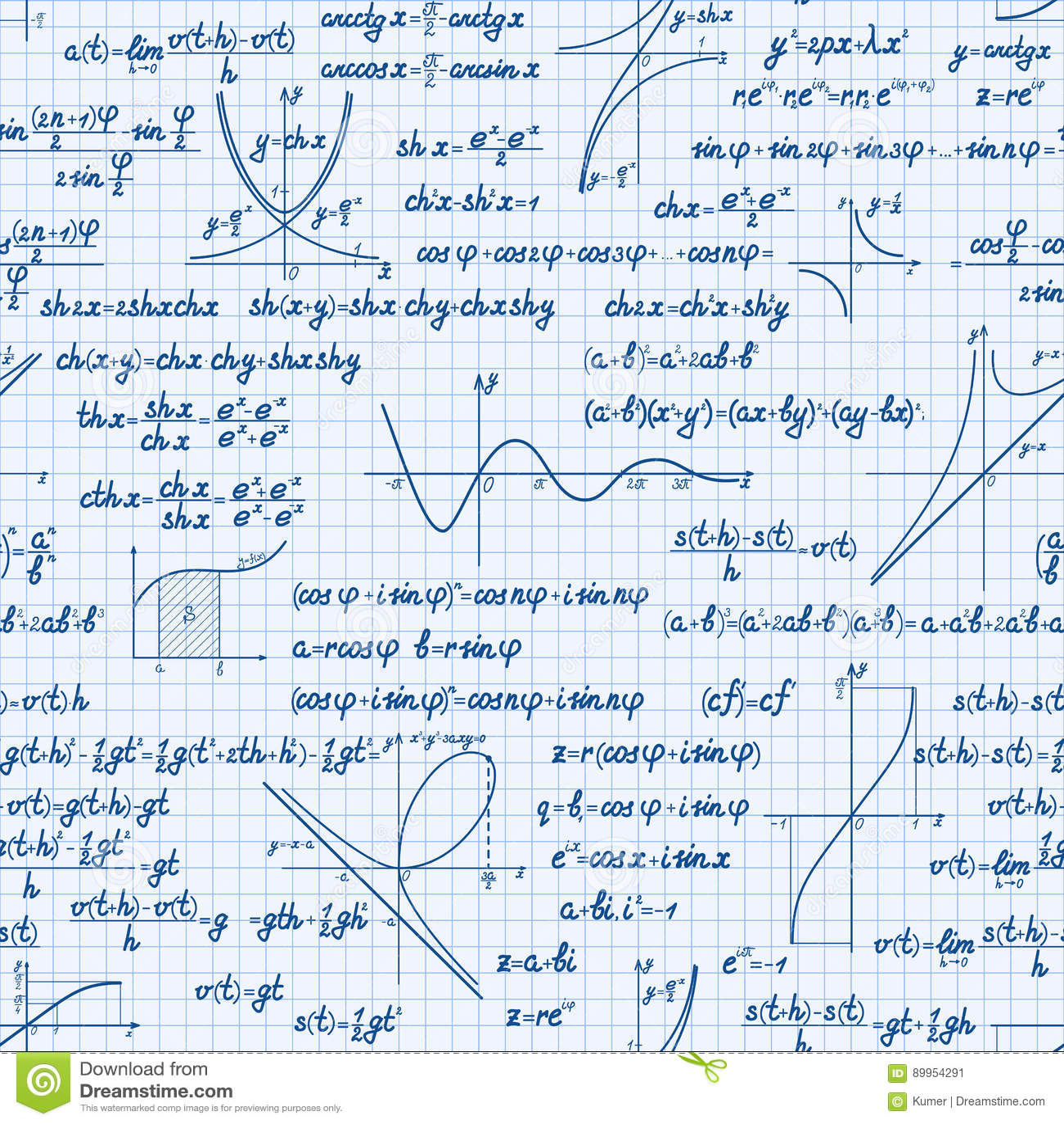 Vector Mathematics Seamless Pattern Stock Vector