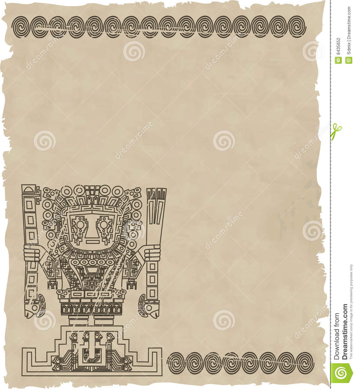 Vector mayan and inca tribal symbols on old paper eps 8 Mayan Symbols Vector