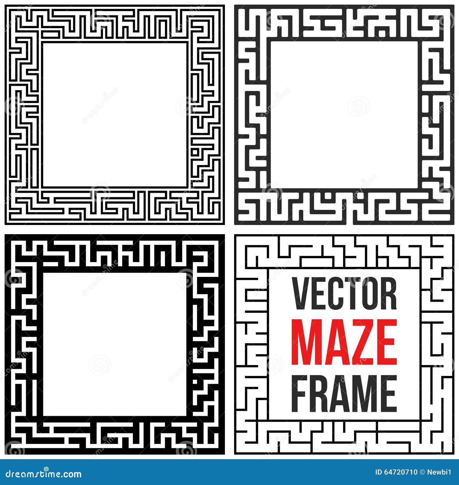 Vector Maze Frame Set. Vintage Maze Border Illustration 64720710 ...