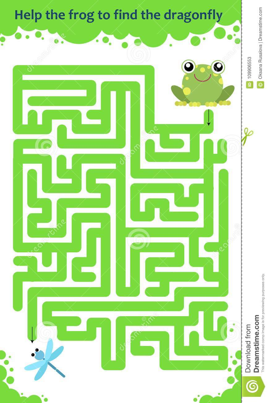 vector maze game help the frog to find the dragonfly stock vector