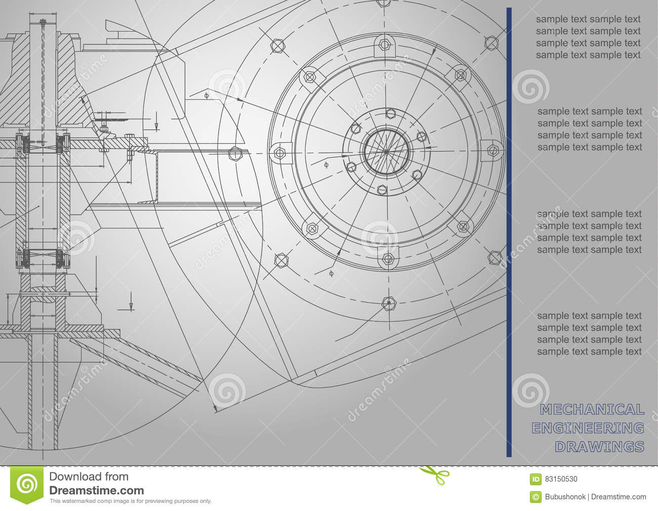 Vector Mechanical Engineering Drawings Stock Vector - Illustration ...