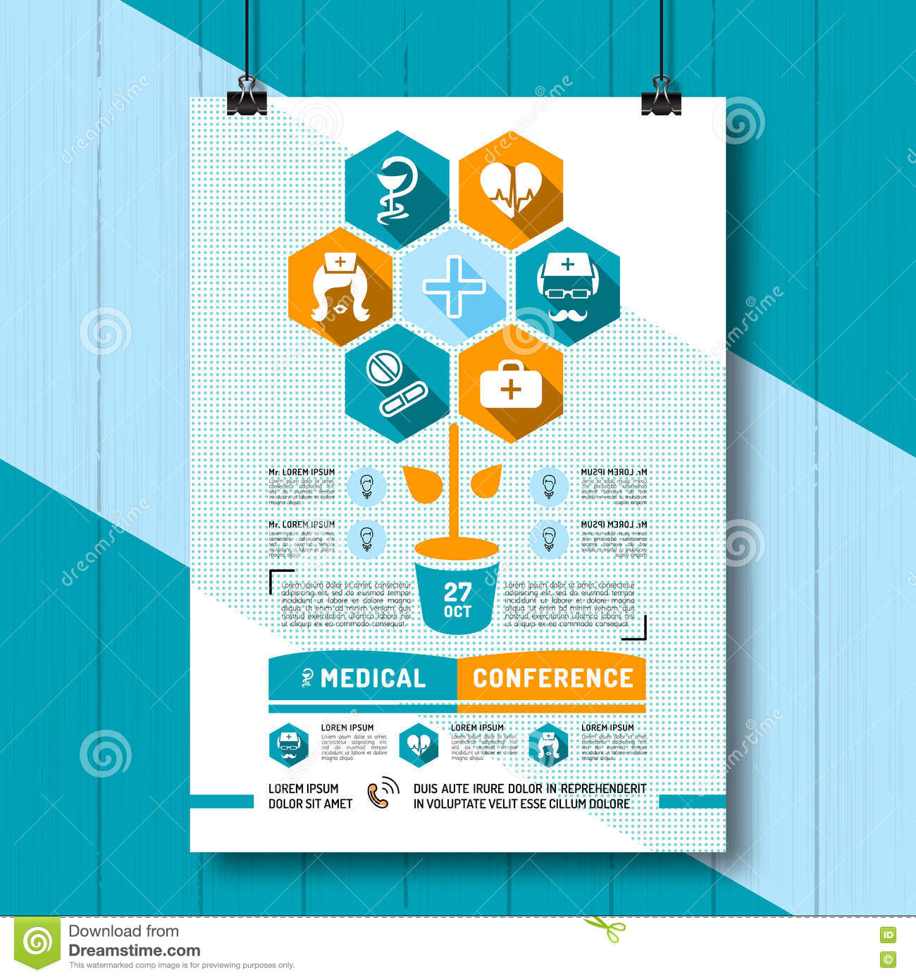 Poster design medical - Vector Medical Conference Poster Flat Infographics Icons Medicine And Health Stock Vector