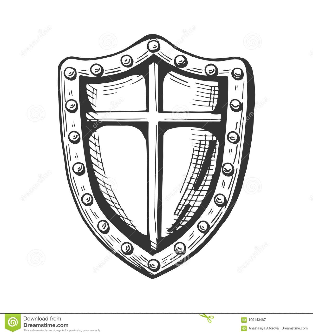 Medieval Knight Shield Icon Stock Vector - Illustration of history ...