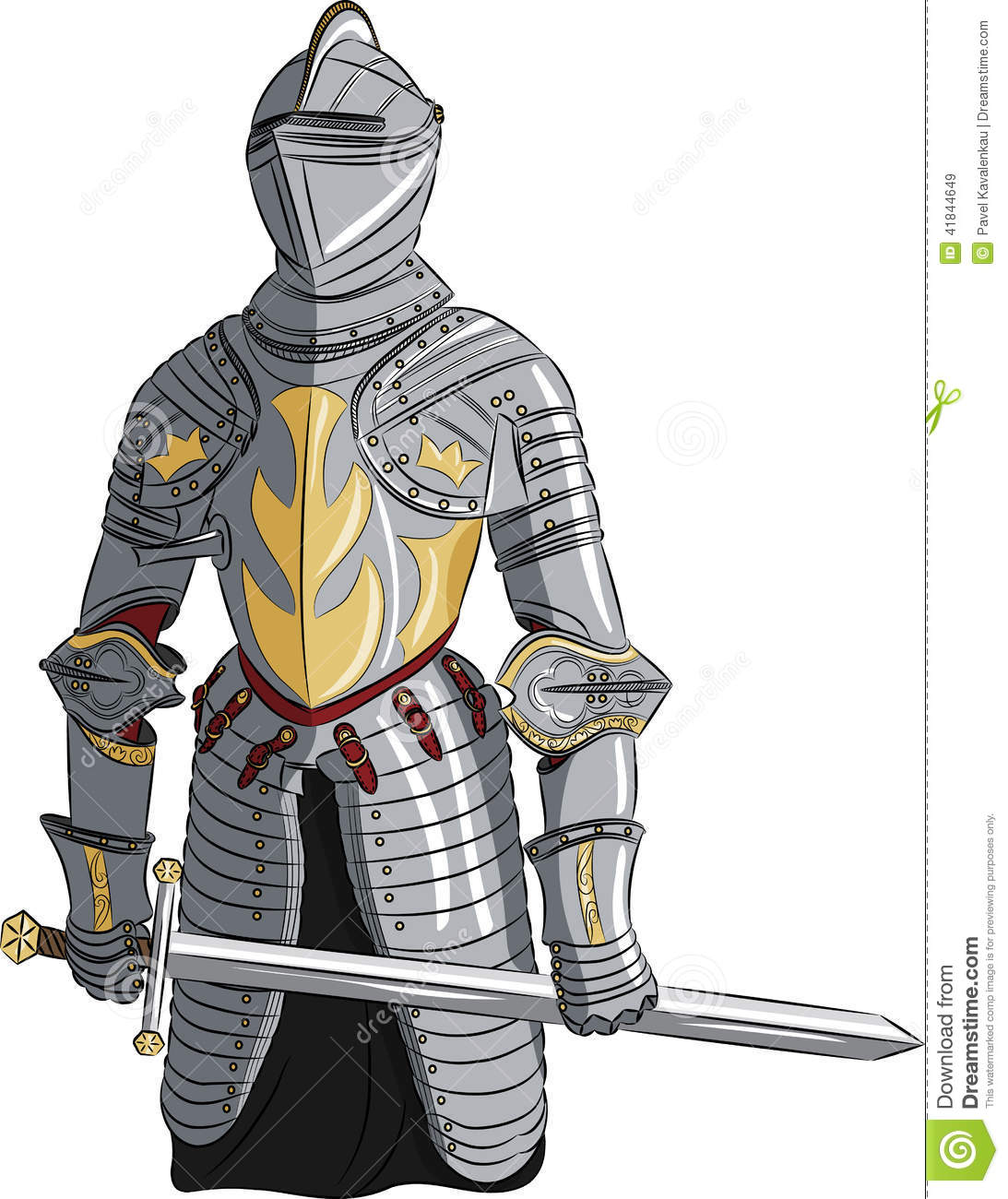 vector medieval knight with sword stock vector