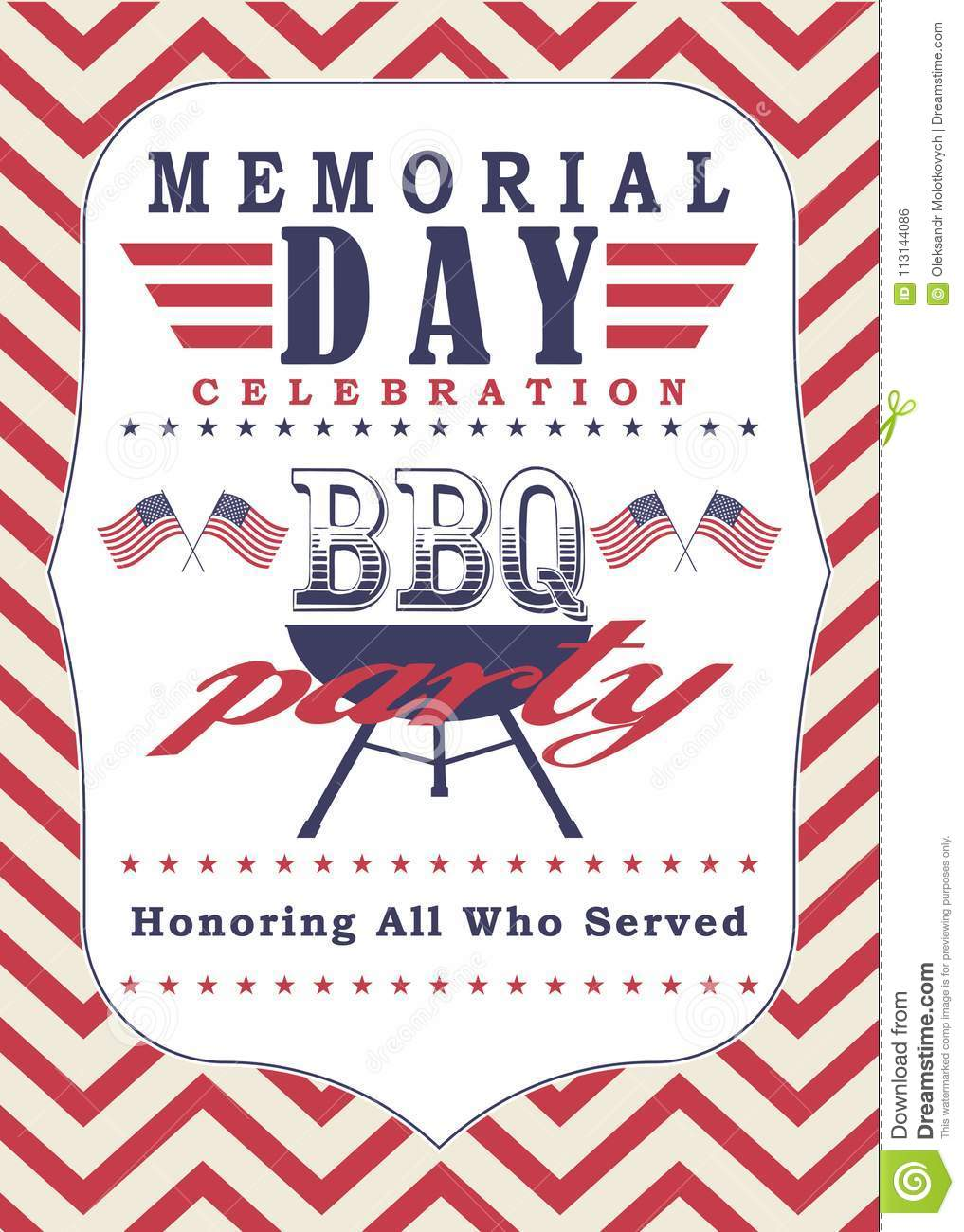 Vector Memorial Day Poster Template Memorial Day Celebration And