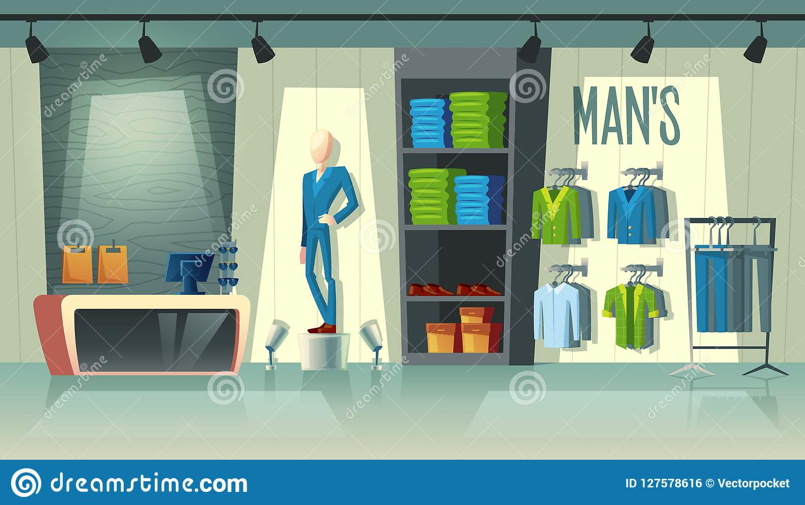 e4f49b7899d Vector mans clothing shop - wardrobe with suits, cartoon mannequin in  costume and stuff on hangers. Cashbox with table inside boutique, dress  collection.