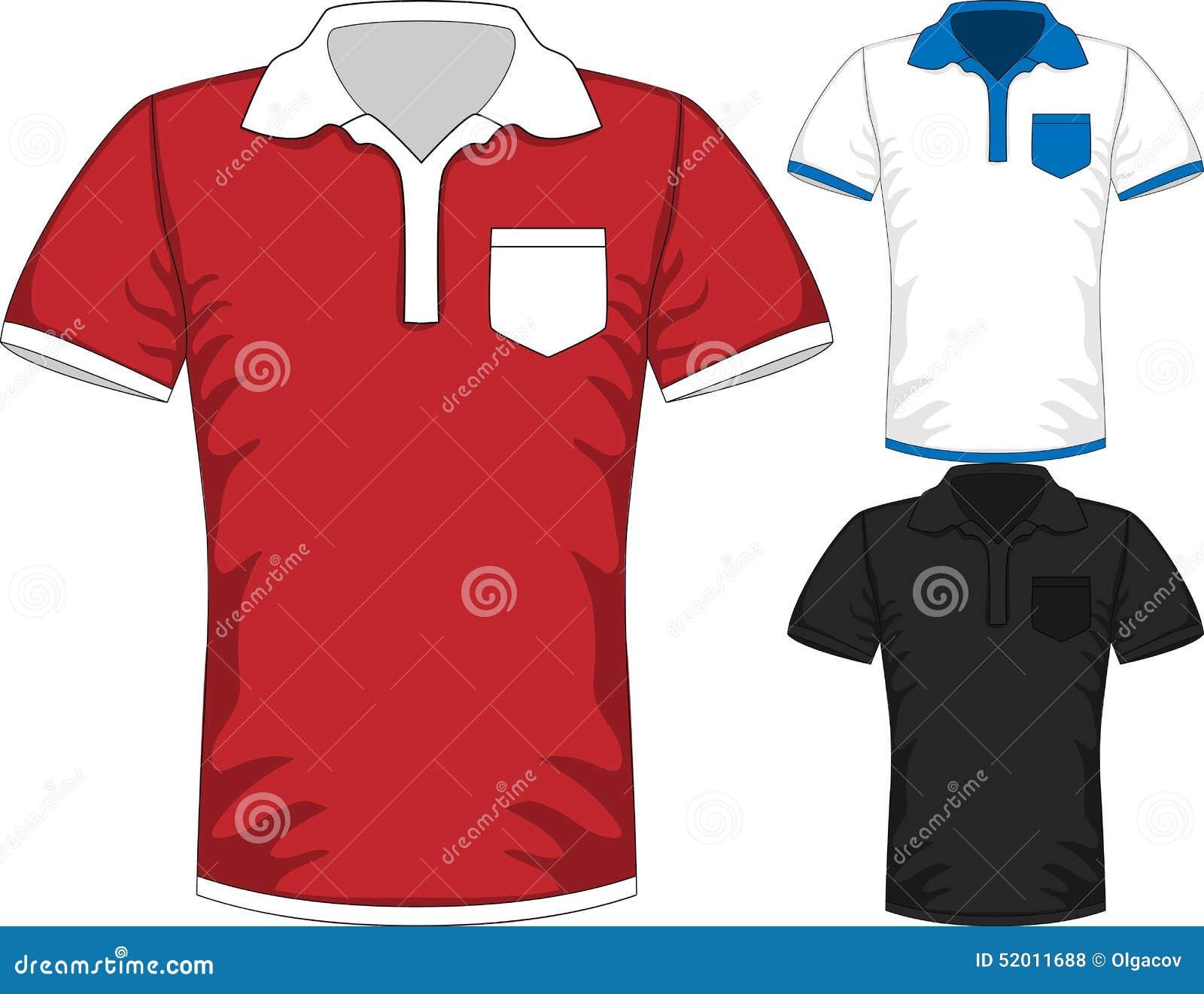 Shirt design red - Vector Mens Short Sleeve T Shirt Polo Design Royalty Free Stock Photos