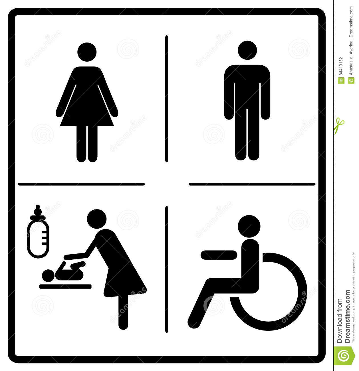 Merveilleux Vector Illustration Of Mens And Womens Disabled Restroom Baby Care Room Sign,  Toilette Symbols, Invalid Icon. Vector Symbols For Public Places, ...