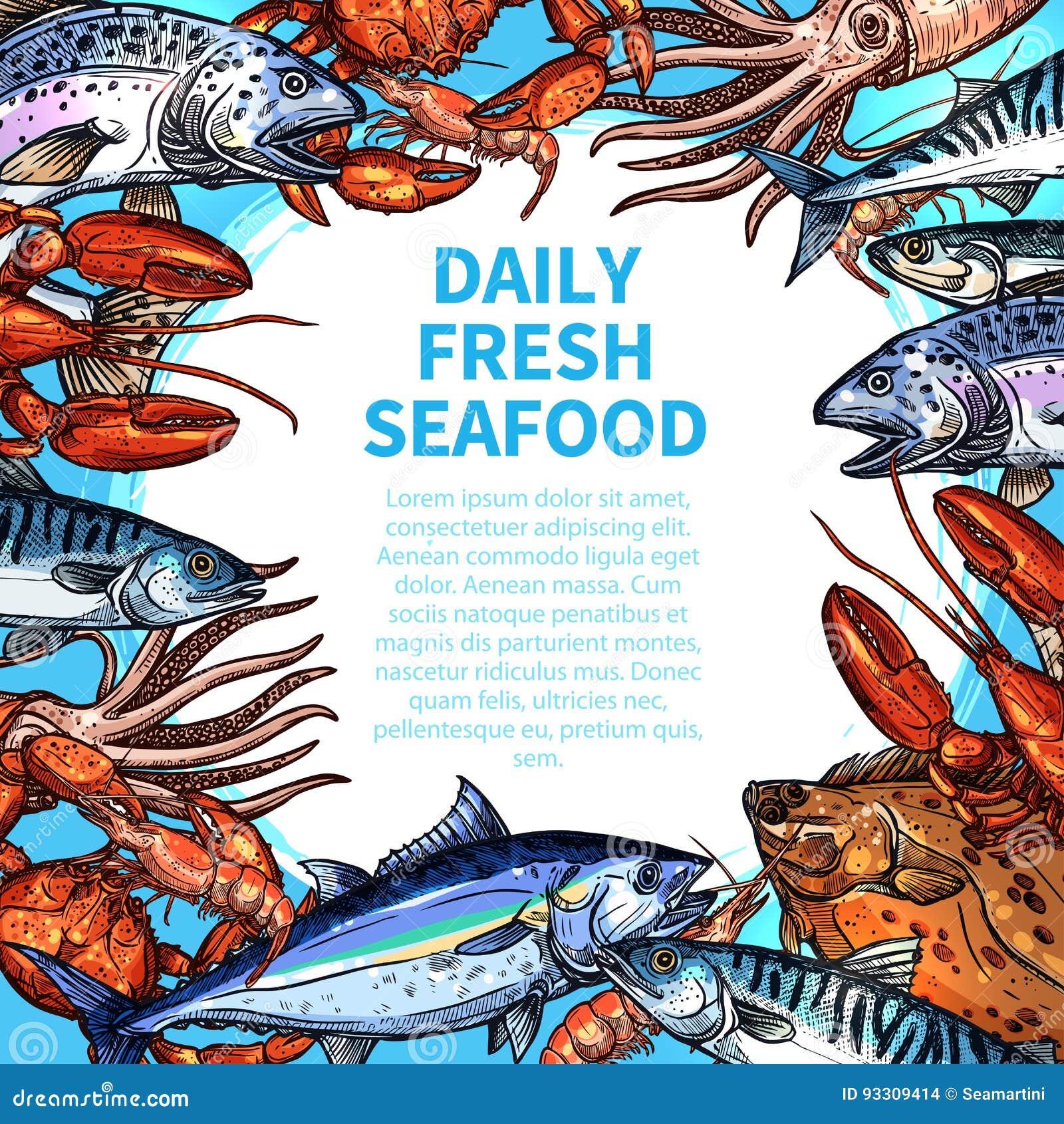 Vector Menu For Seafood Or Fish Food Market Stock