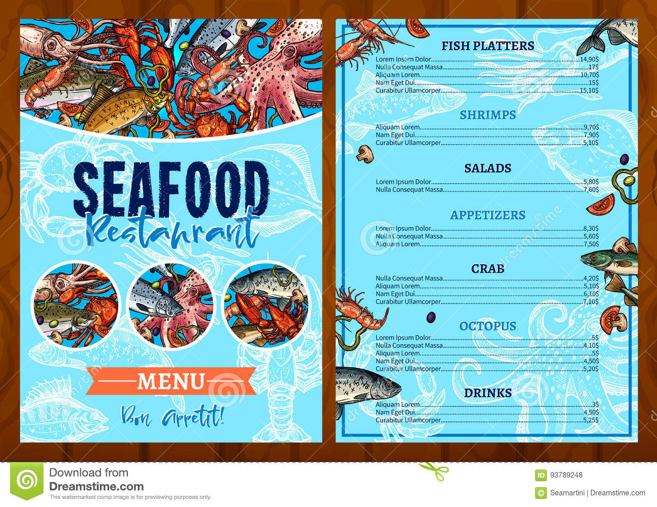 Vector menu for seafood fish restaurant stock vector for Fish stocking prices