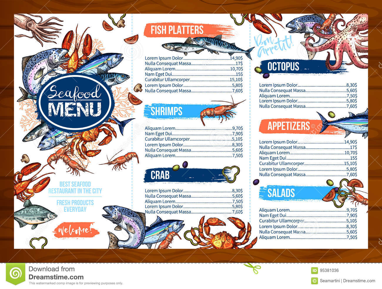 Vector menu for seafood or fish seafood restaurant stock for Max fish menu